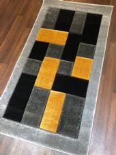 Modern Rugs Approx 5x2ft6 80x150cm Thick best quality ,Blocks Silver-yellow nice